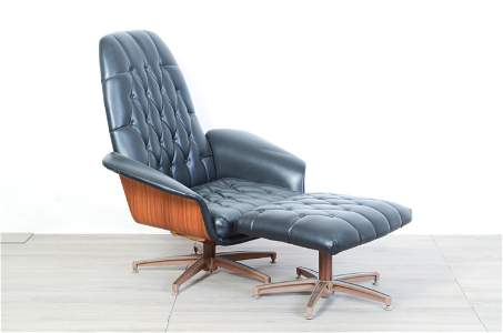 George Mulhauser Plycraft Leather Lounge Chair w/