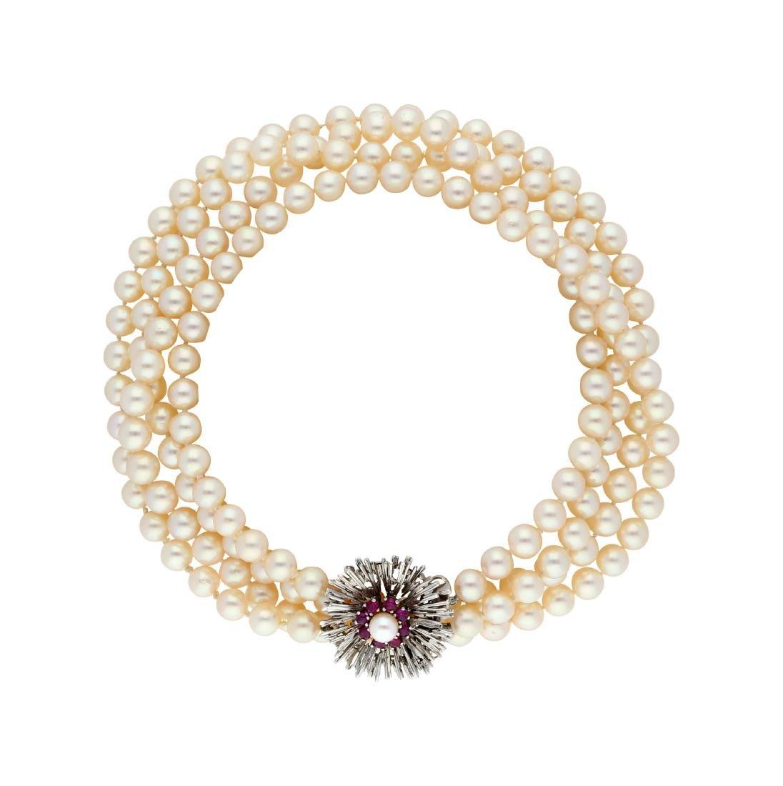 Perlen-Rubin-Set, bestehend aus Collier, Bracelet ...