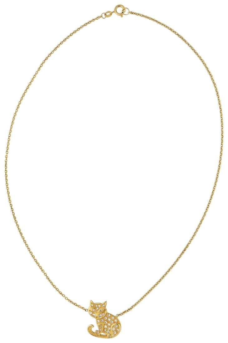 Diamant Collier, entzückend, in Gelbgold 18K, an ...