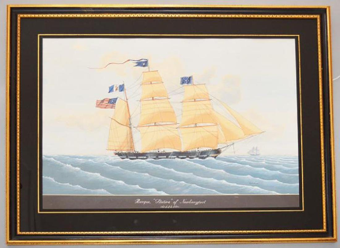 "Large Marine Watercolor Painting of the Ship ""Stativa"""