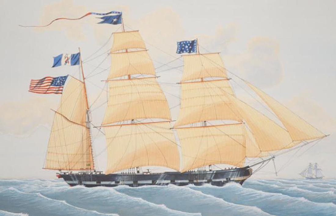 "Large Marine Watercolor Painting of the Ship ""Stativa"" - 2"