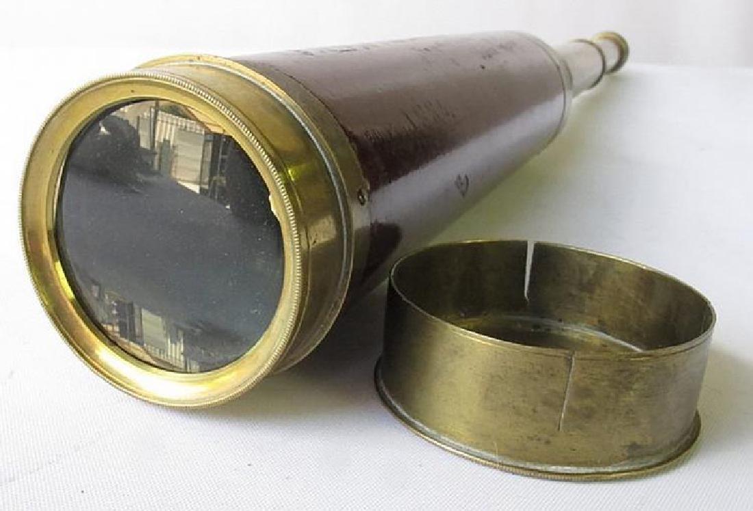 Antique Folding Nautical Brass and Wood Telescope - 2