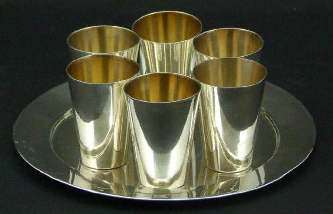 7-Piece Sterling Silver Cordials w Tray