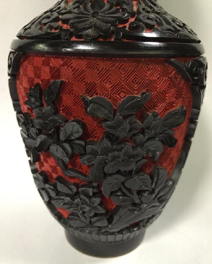 Antique Chinese Hand Carved Bichrome Cinnabar Vase - 2