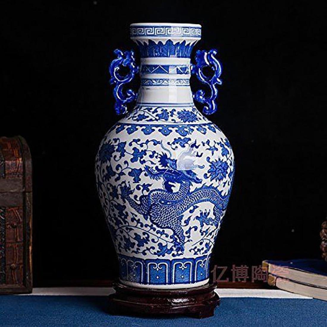 Blue And White Chinese Porcelain Dahlia & Dragon Vase - 2