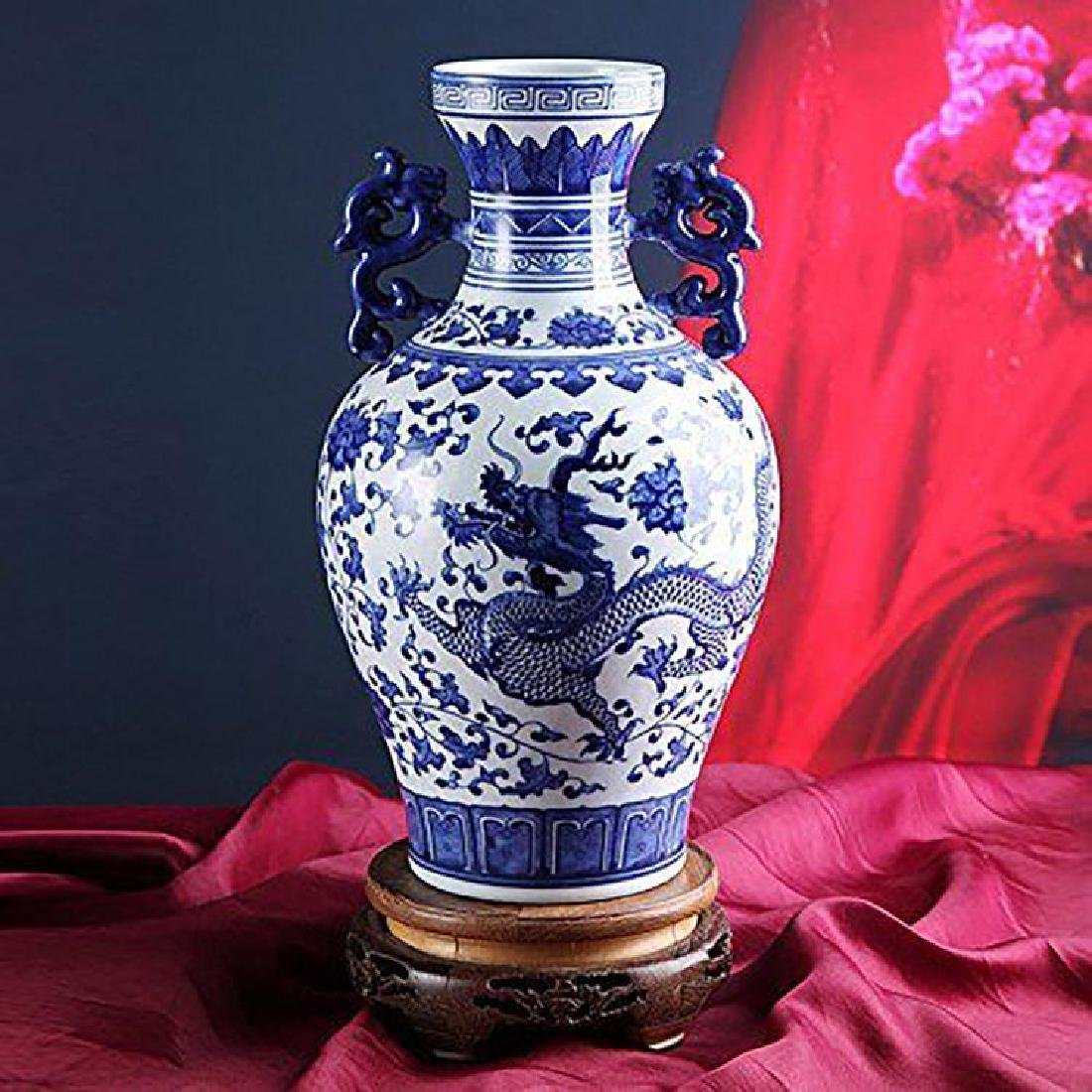 Blue And White Chinese Porcelain Dahlia & Dragon Vase - 3