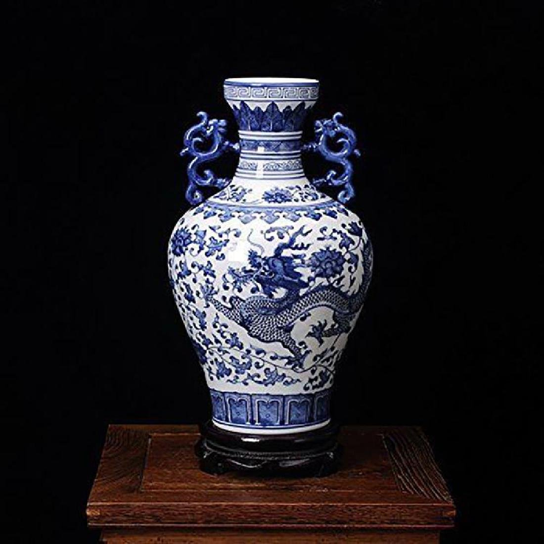 Blue And White Chinese Porcelain Dahlia & Dragon Vase - 4