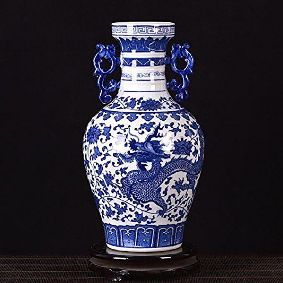 Blue And White Chinese Porcelain Dahlia & Dragon Vase - 5
