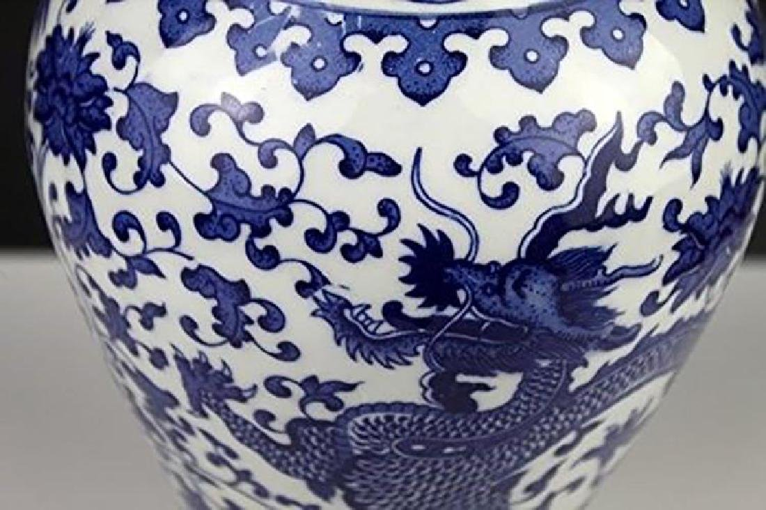 Blue And White Chinese Porcelain Dahlia & Dragon Vase - 7