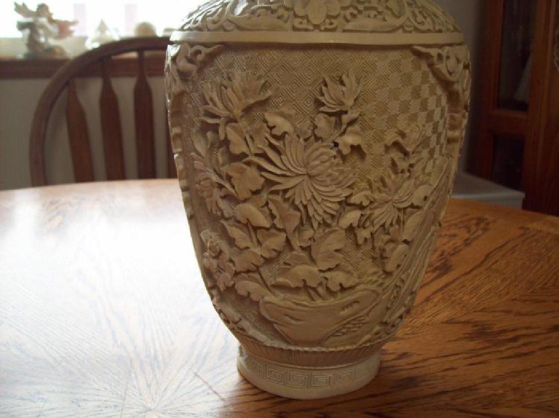 Hand Carved Ornate Hallmarked Chinese Cinnabar Vase - 2