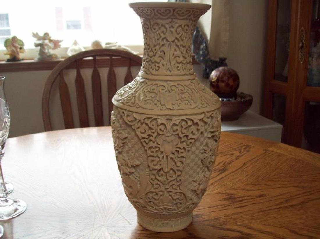 Hand Carved Ornate Hallmarked Chinese Cinnabar Vase - 3