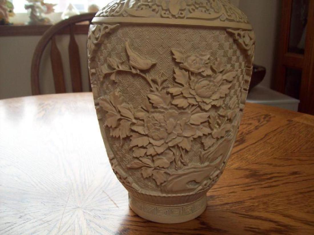 Hand Carved Ornate Hallmarked Chinese Cinnabar Vase - 4