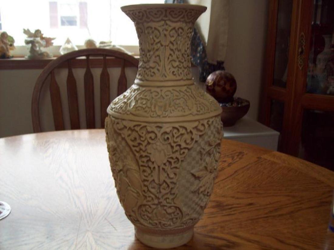 Hand Carved Ornate Hallmarked Chinese Cinnabar Vase - 6