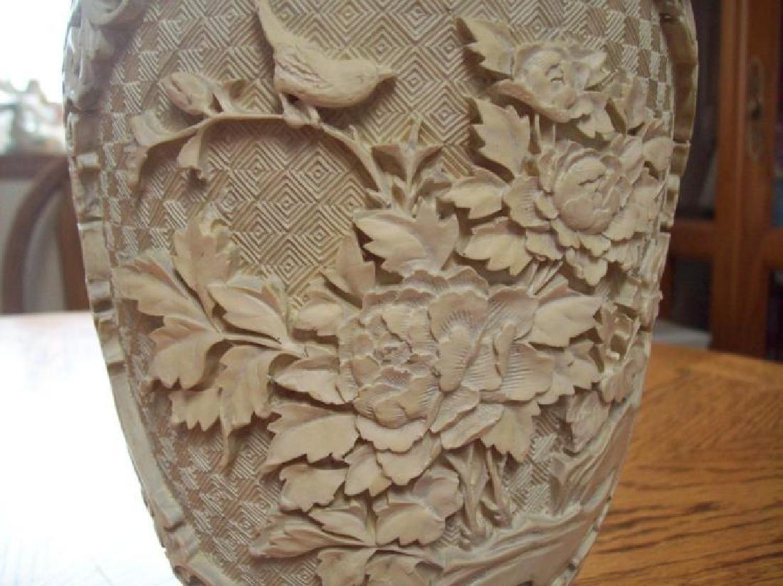 Hand Carved Ornate Hallmarked Chinese Cinnabar Vase - 7