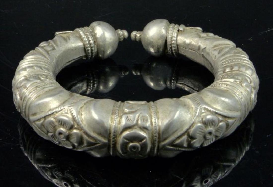 Antique Tibetan Silver Cuff Bracelet - 3