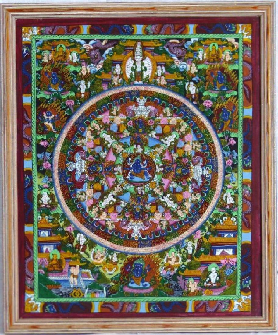 Original Tibetan Mandala Thanka Painting on Silk
