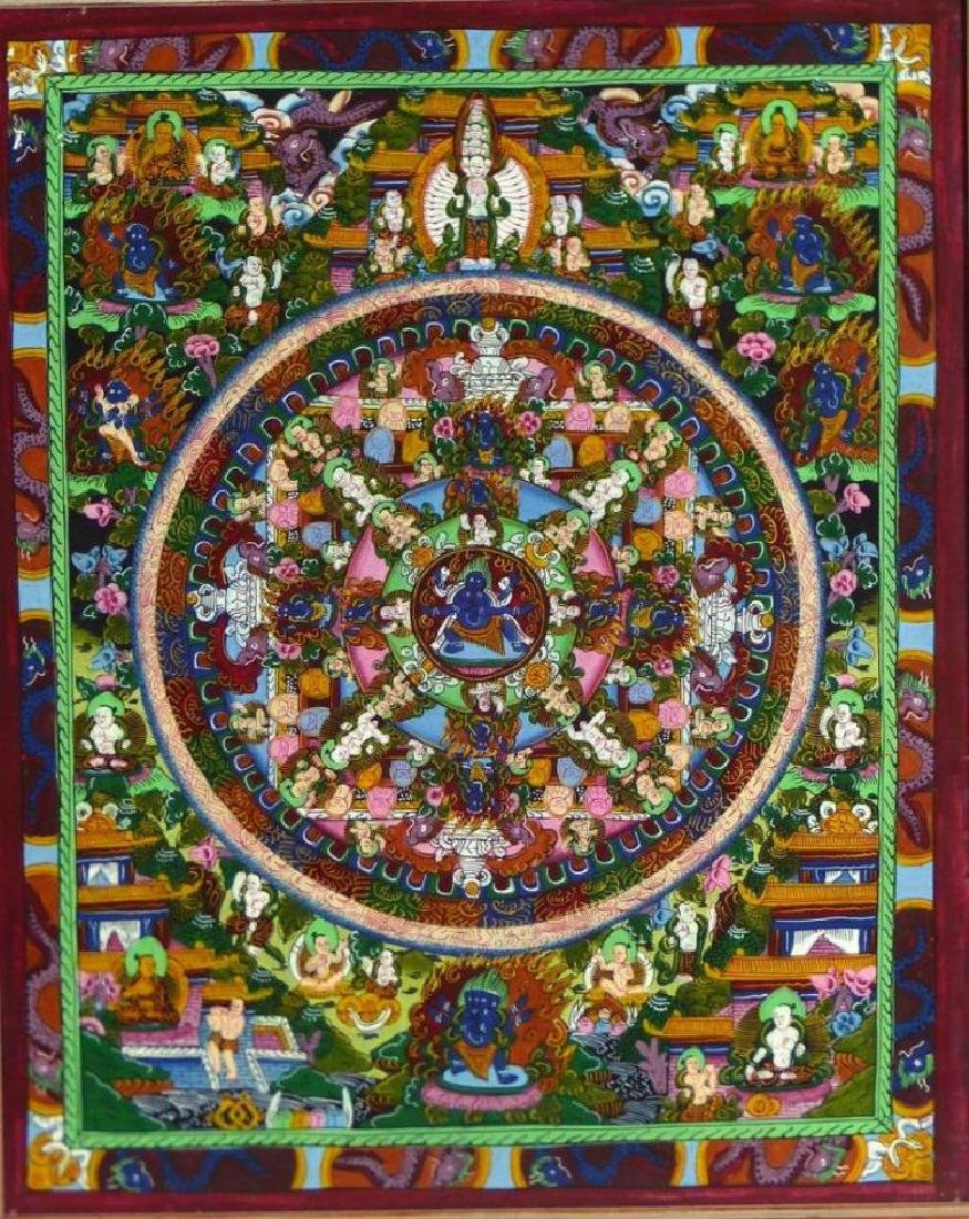Original Tibetan Mandala Thanka Painting on Silk - 2
