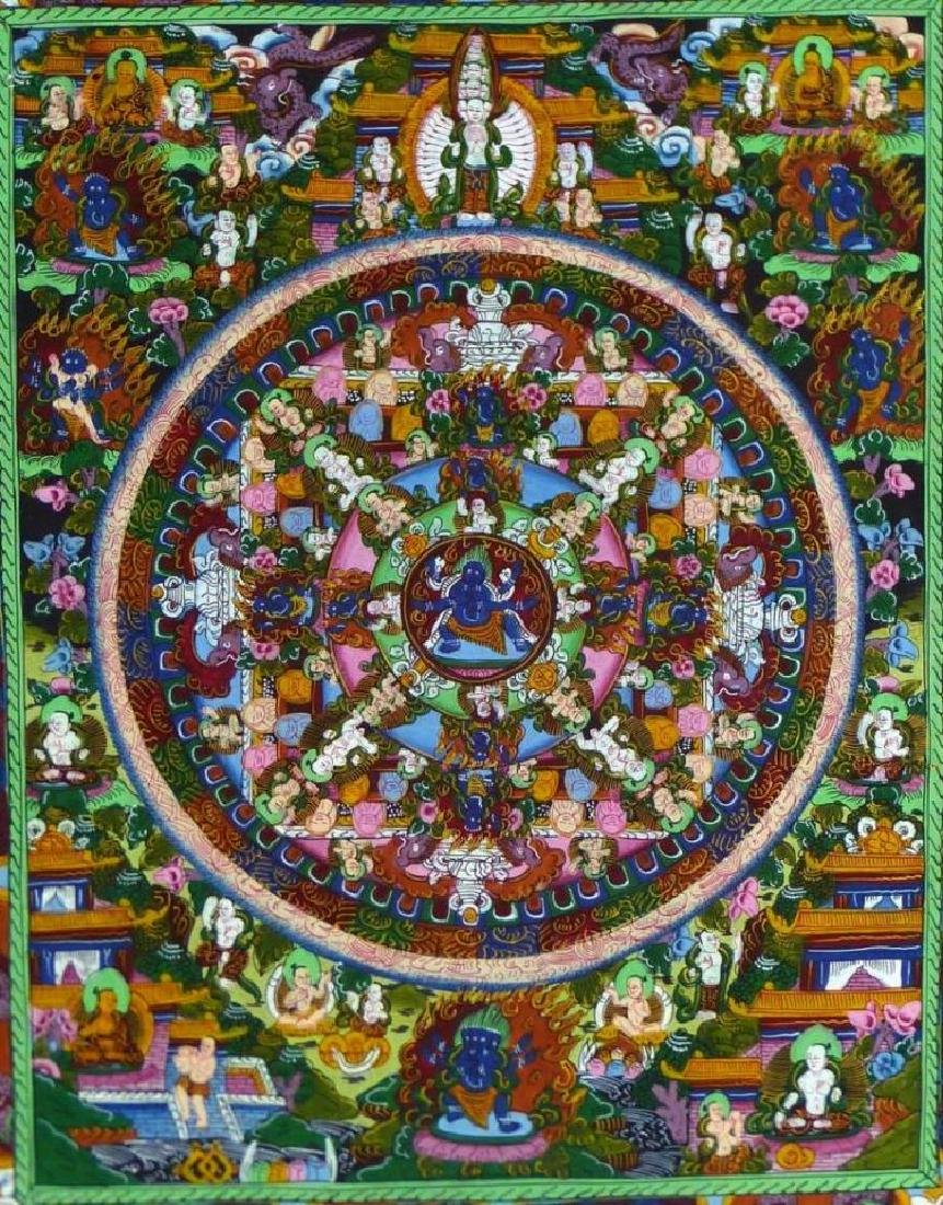 Original Tibetan Mandala Thanka Painting on Silk - 5