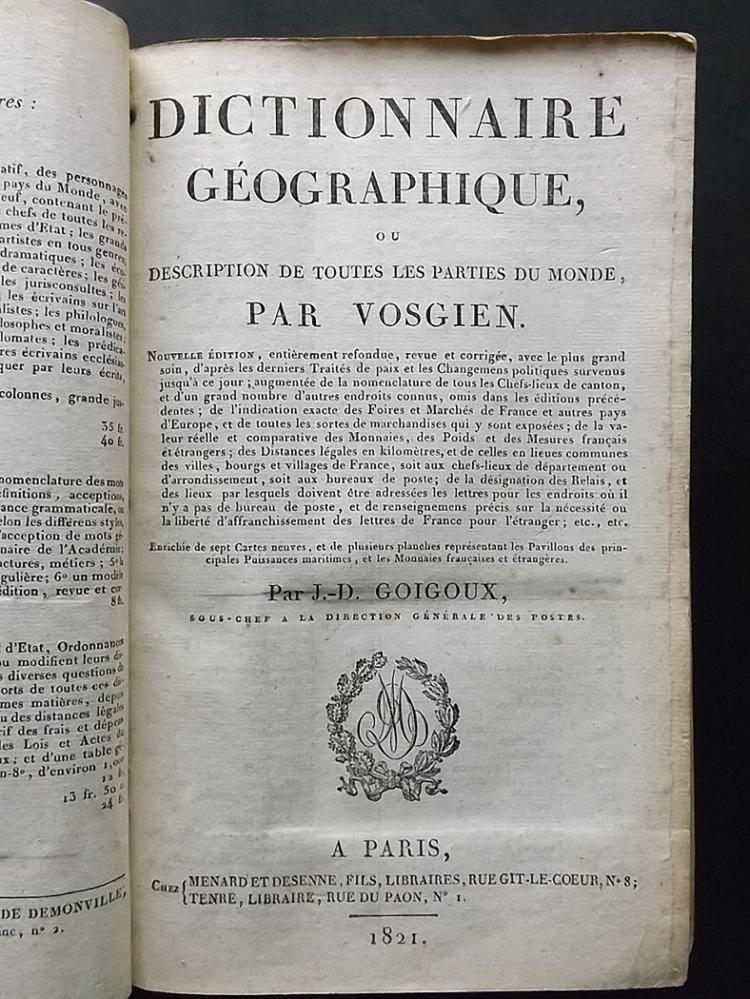 Antique Leather Book - Vosgien, Jean Baptiste Ladvocat - 2