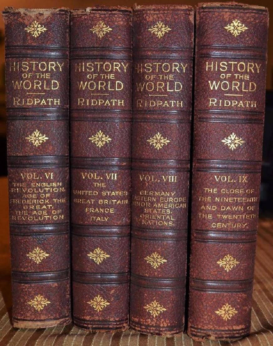 4 Vols. Antique Leather Books - History of the World -