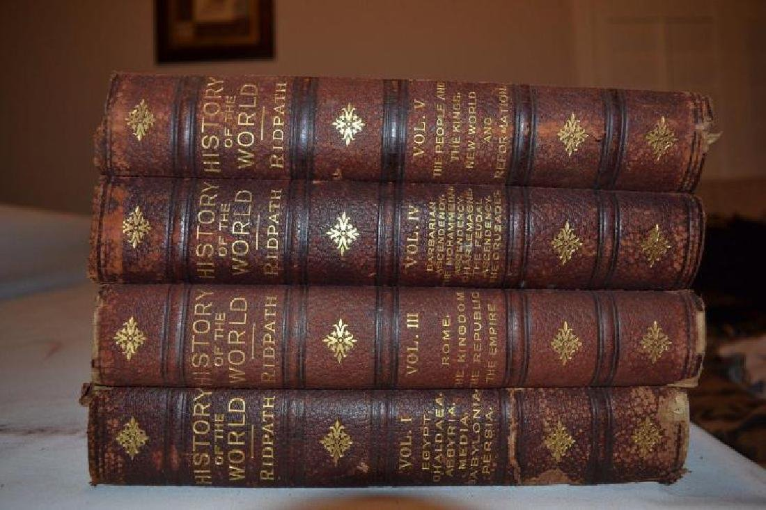 4 Vols. Antique Leather Books - History of the World - - 3
