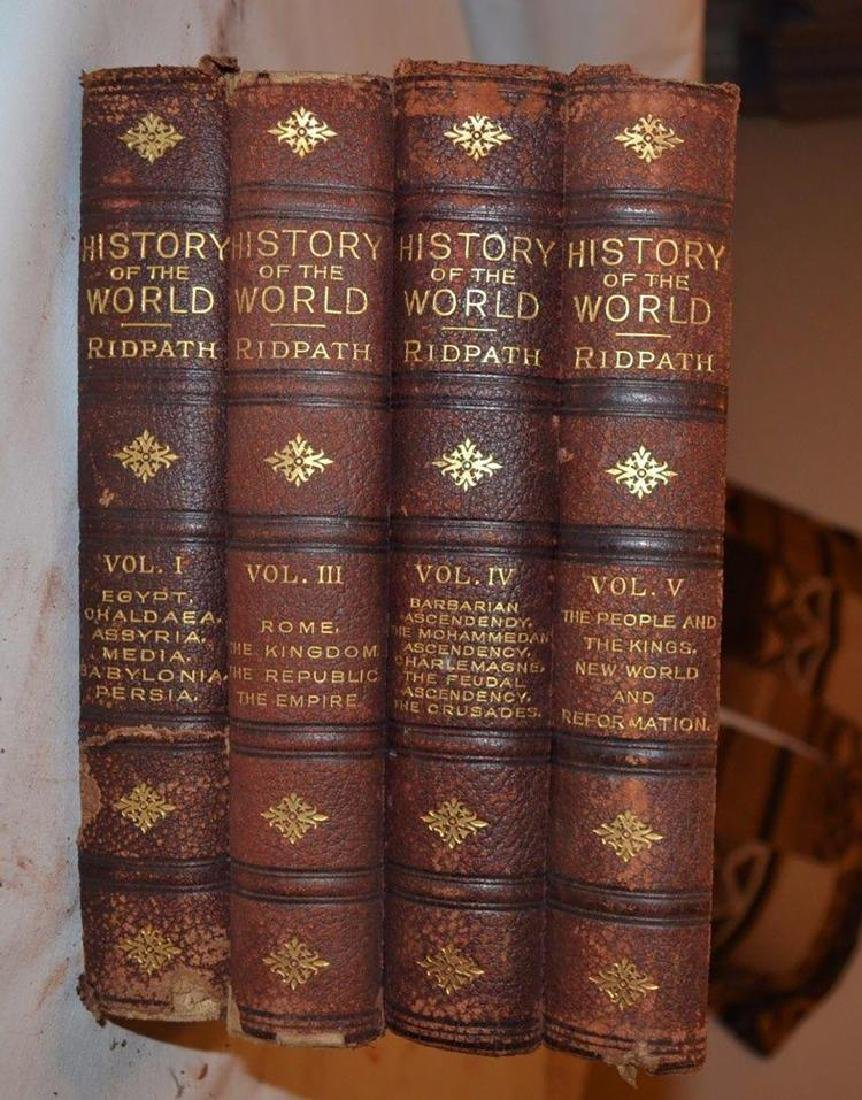 4 Vols. Antique Leather Books - History of the World - - 4