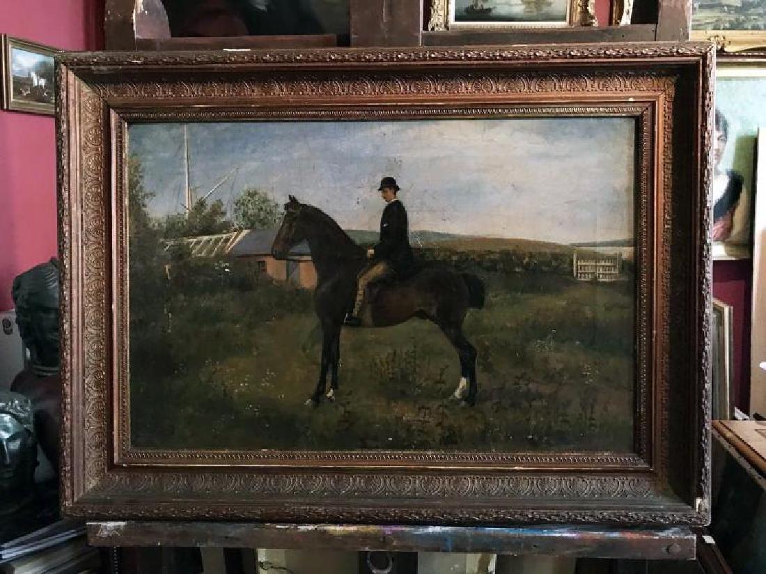 Rare 19th Century English Equestrian Folk Art Oil