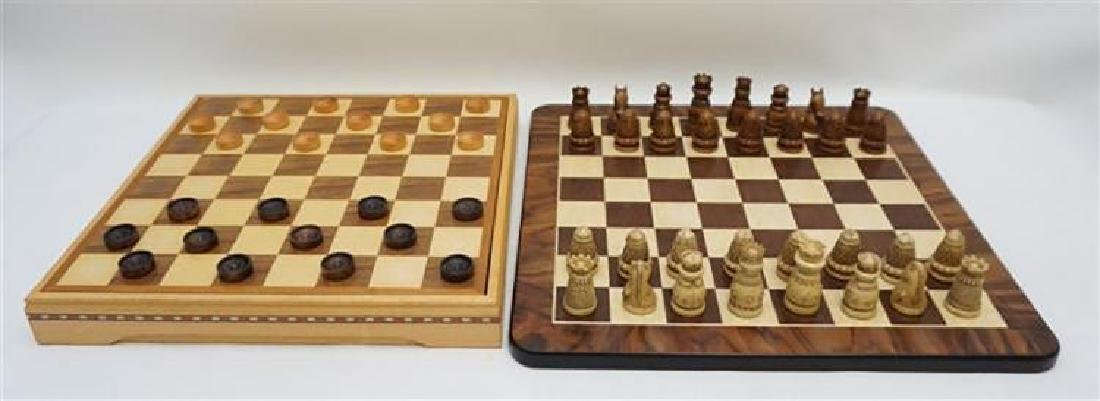 Medieval Chess / Checker Set With Extra Wood Board