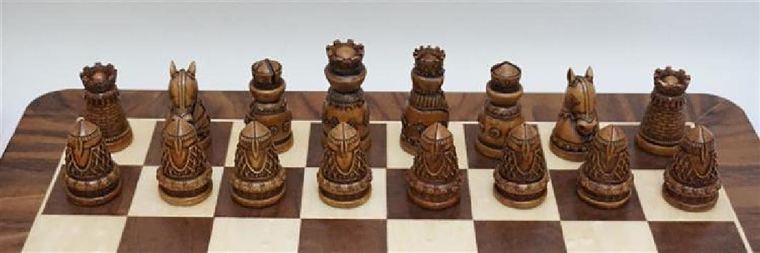 Medieval Chess / Checker Set With Extra Wood Board - 2