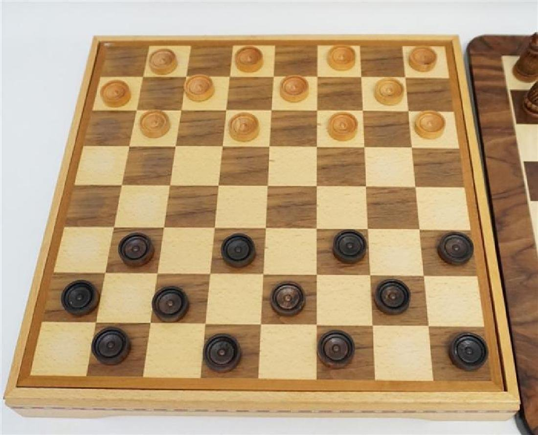 Medieval Chess / Checker Set With Extra Wood Board - 3