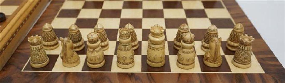 Medieval Chess / Checker Set With Extra Wood Board - 4