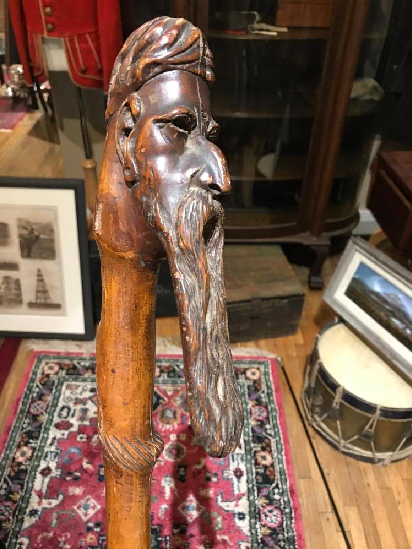 Civil War Handmade Walking Cane - Handle Carved with a - 2