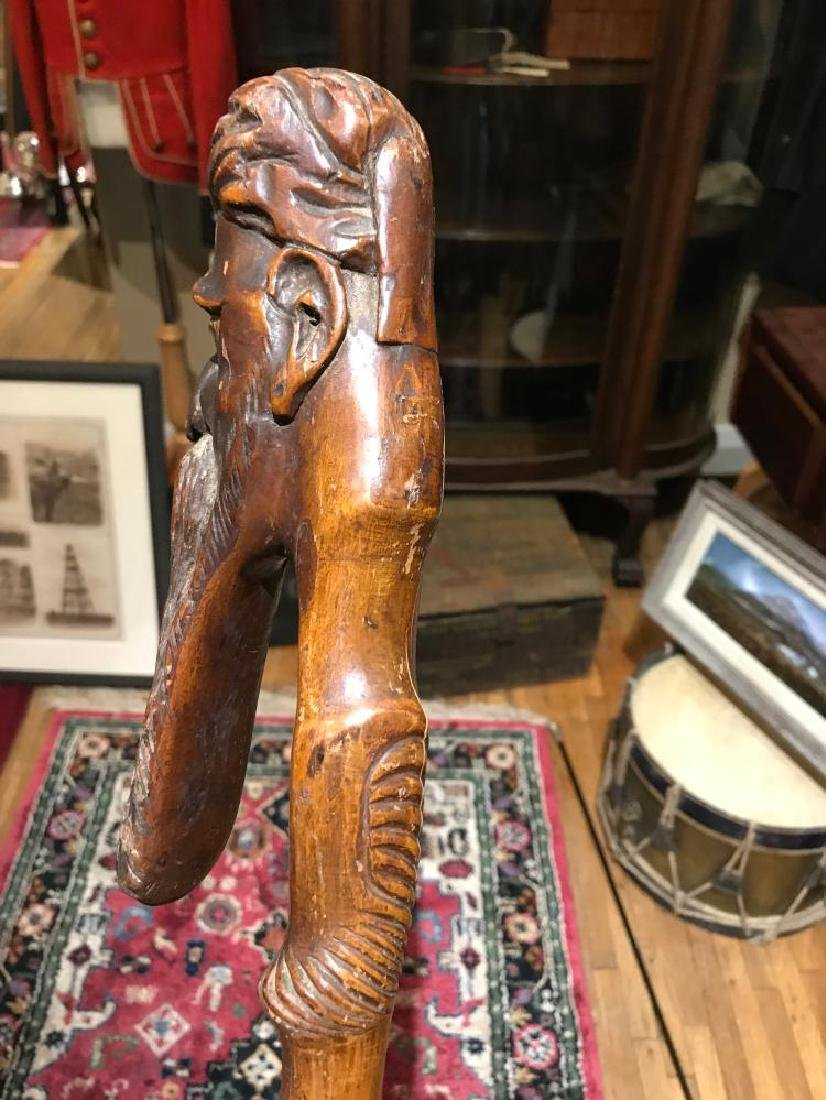 Civil War Handmade Walking Cane - Handle Carved with a - 5