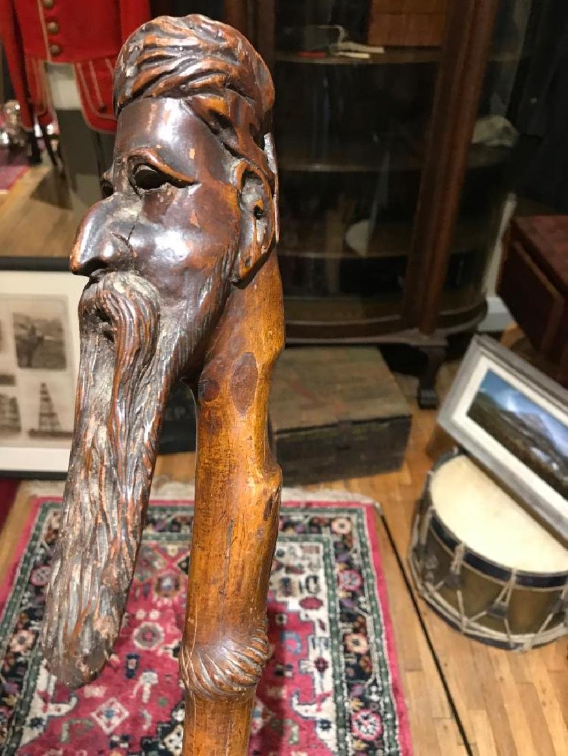 Civil War Handmade Walking Cane - Handle Carved with a - 6