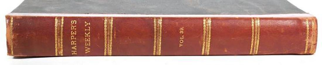 Large Antique Leather Bound Volume of Harper's Weekly