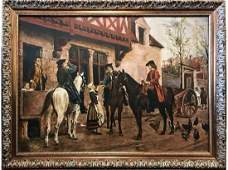 Antique Oil Painting of American Colonialists by John