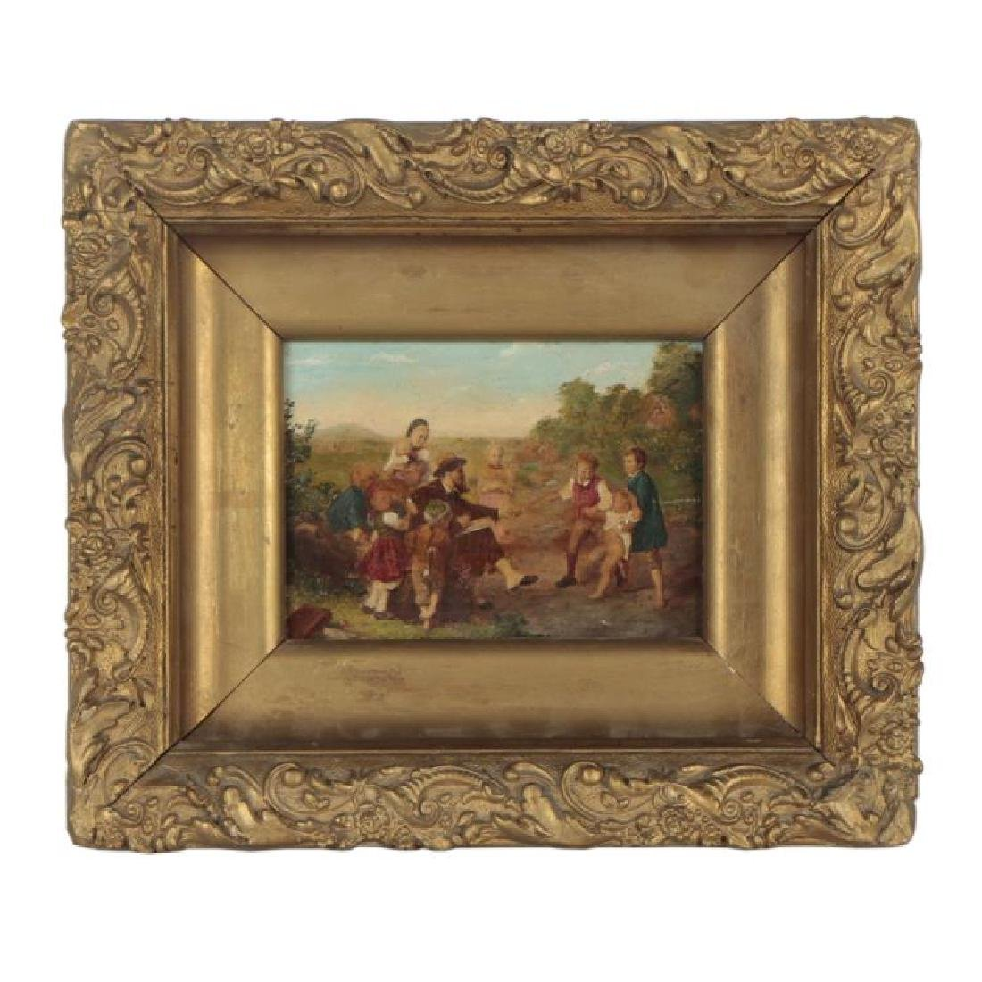18th Century Oil Painting of a Pastoral Family Scene