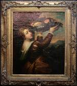 """18th Century Portrait Oil Painting After Titian's """"Girl"""
