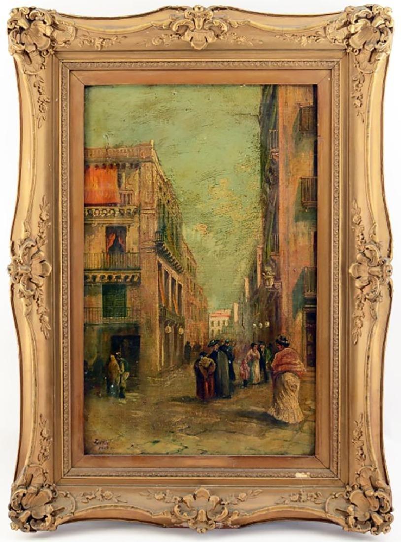 Vincenzo Loria Oil Painting Entitled ÒNaples Street