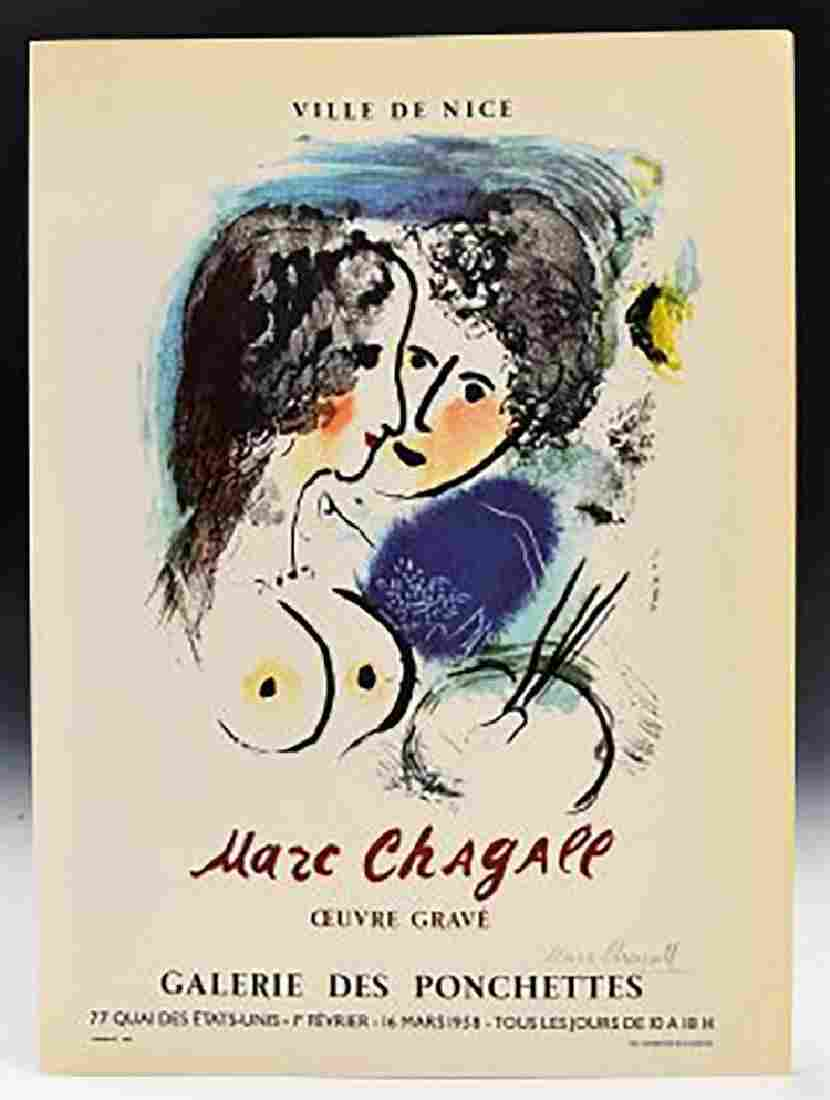 Marc Chagall Signed Lithographed Exhibition Poster