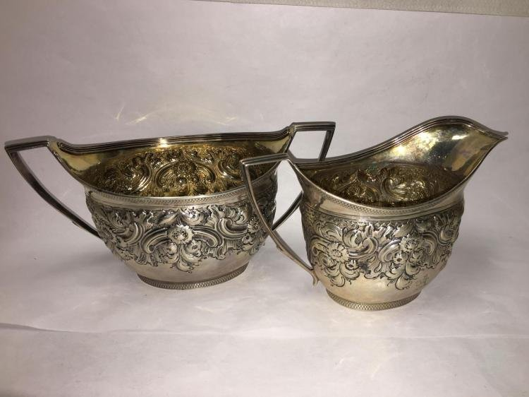 George III English Sterling Silver RepoussŽ Tea Set (3 - 10
