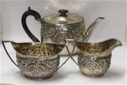George III English Sterling Silver Repouss Tea Set 3