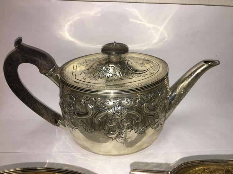 George III English Sterling Silver RepoussŽ Tea Set (3 - 2