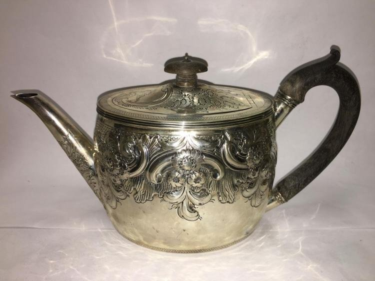 George III English Sterling Silver RepoussŽ Tea Set (3 - 3