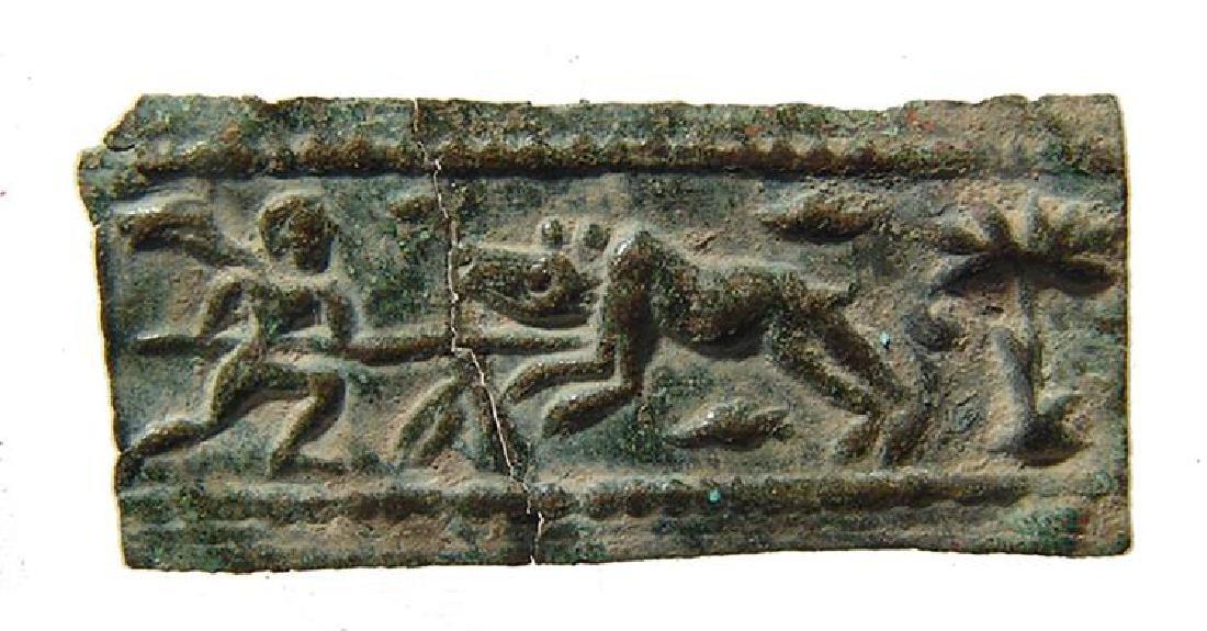 Levantine Bronze Plaque Depicting a Hunting Scene
