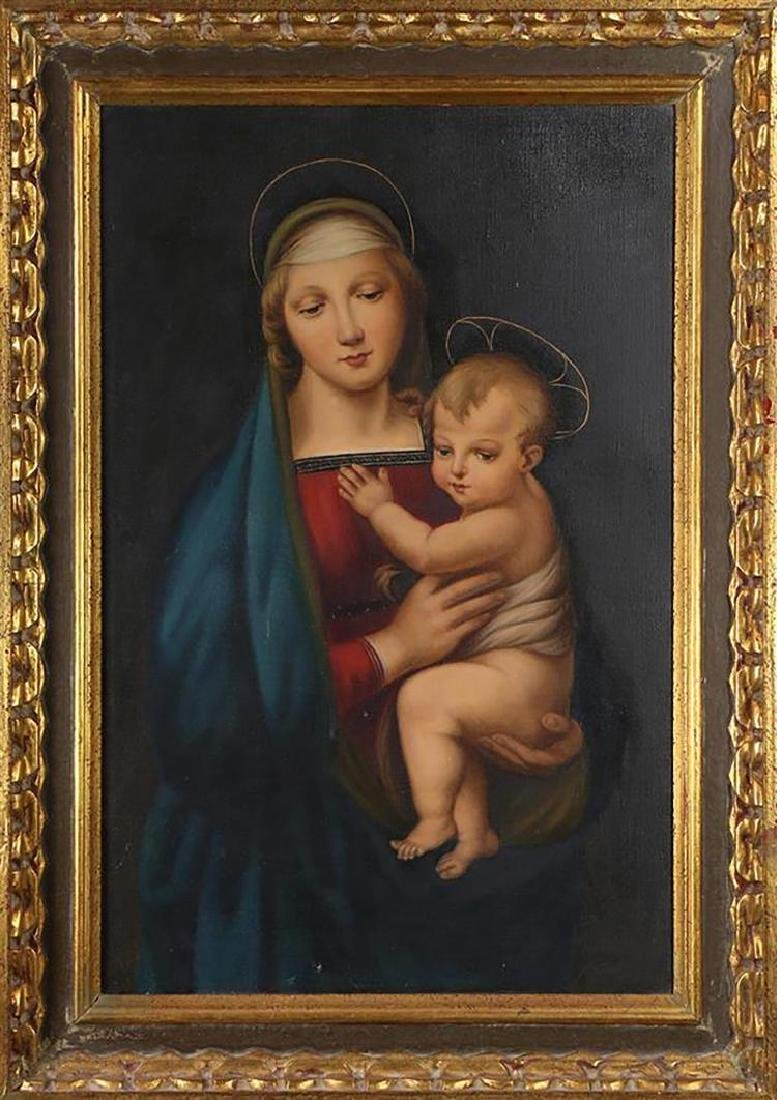 Port. Oil Painting After Raphael's Madonna del Granduca