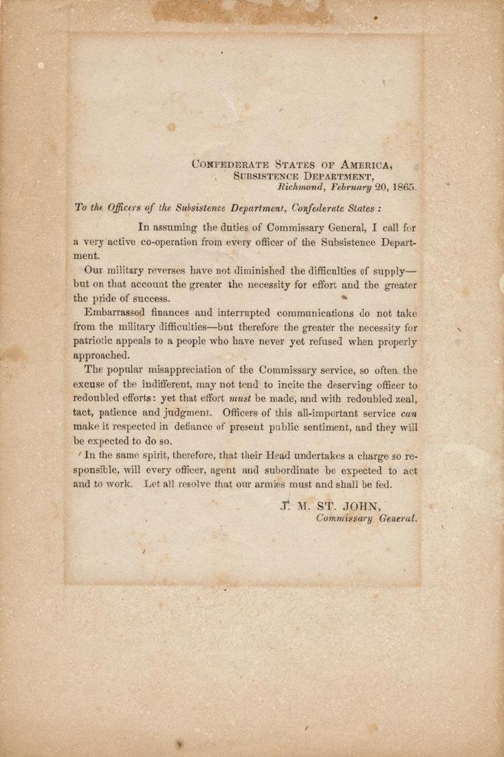 Civil War Confederate Subsistence Department Notice