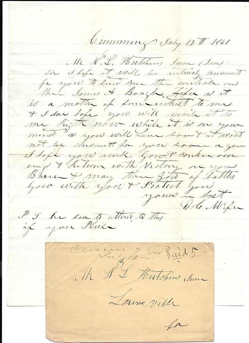 Civil War Letter to Confederate Colonel Hutchins 1861