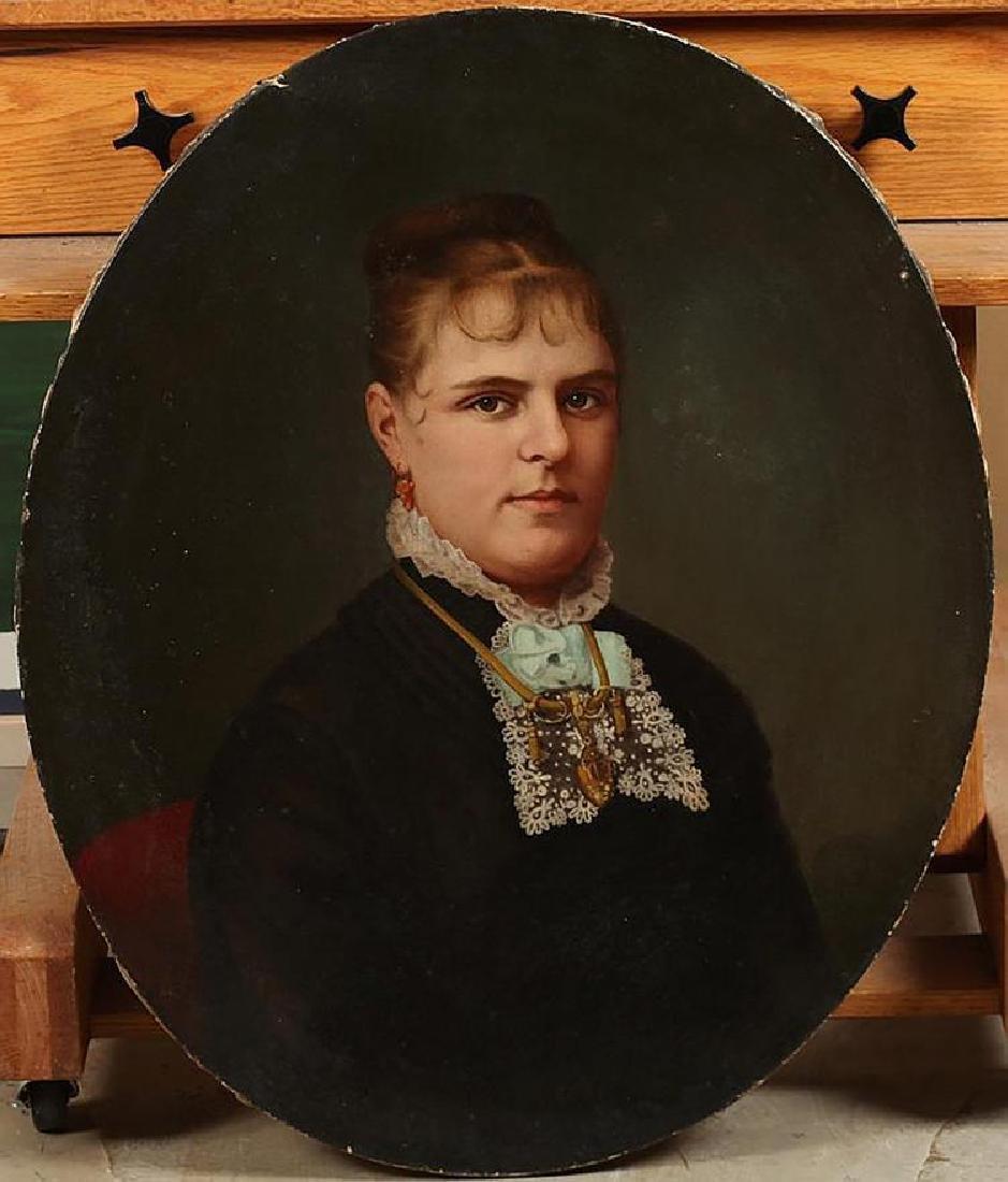 Pair of 19th Century Portrait Oil Paintings American - 2