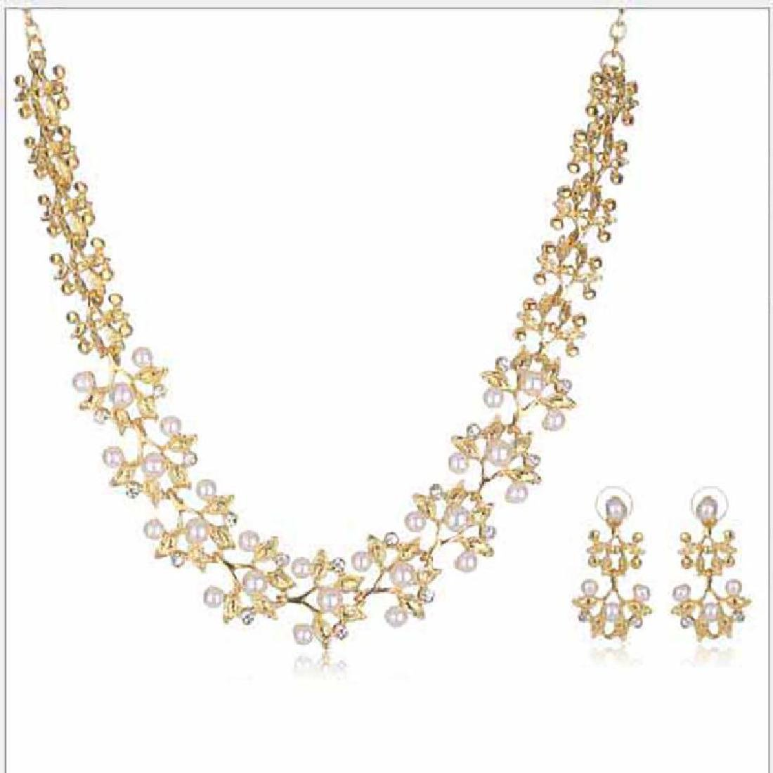Matching Diamond & Pearl Necklace & Earrings set in